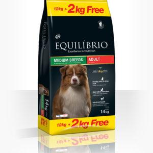 Equilibrio Adult Medium Breed -Пълноценна храна от най-висок клас за израснали кучета от средни породи.