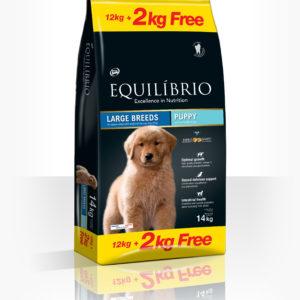 Equilibrio Puppy Large Breed - Пълноценна храна от най-висок клас за подрастващи кученца от едри и гигантски породи.