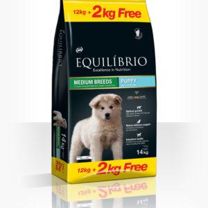 Equilibrio Puppy Medium Breed - Пълноценна храна от най-висок клас за подрастващи кученца от средни породи.