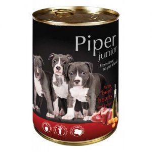 Piper Junior - телешки сърца и моркови - Премиум консервирана храна за подрастващи кученца